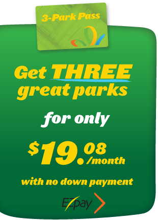 Get extra value with a three park annual pass for one low monthly price