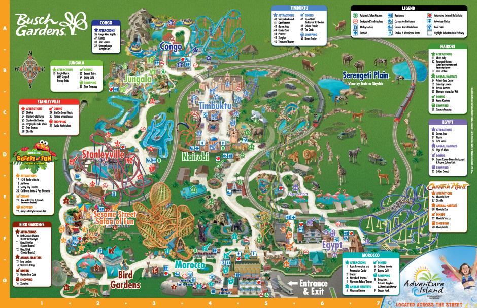Park Map Busch Gardens Tampa